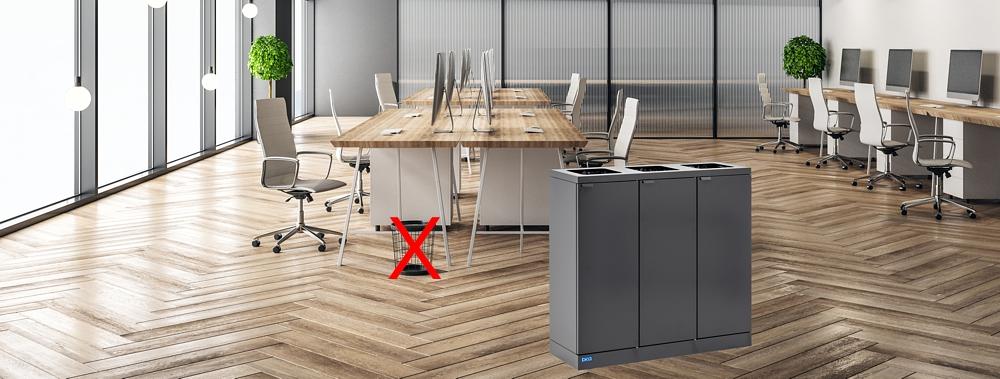 Een meubelstuk, en centraal afvalscheiden
