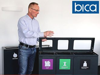3 waste bins combined into one wastesorting station